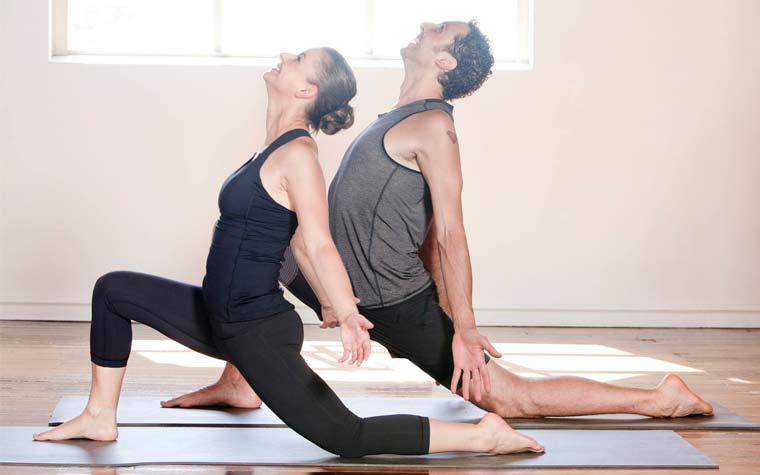 vegan couple yoga