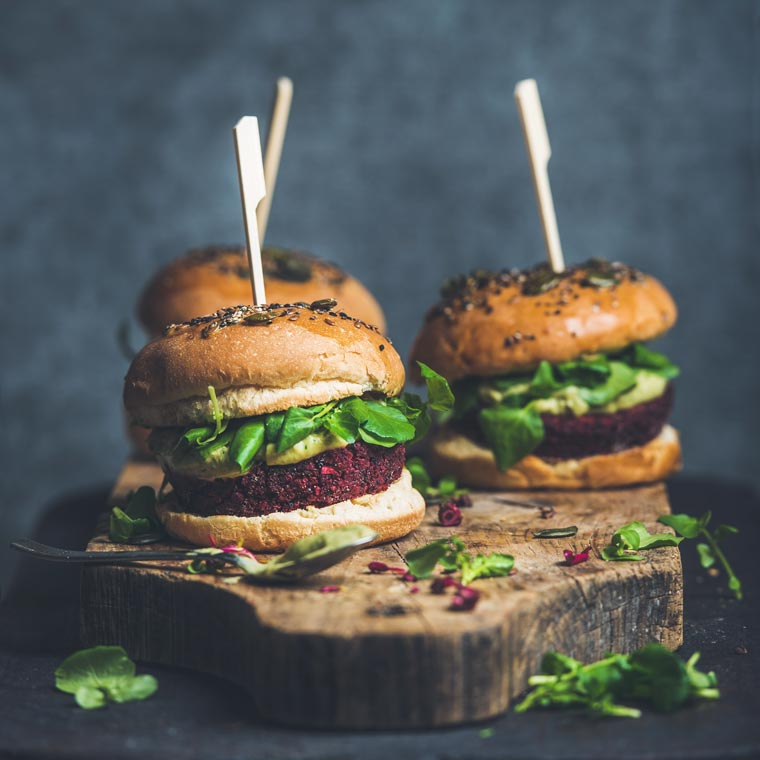 homemade vegan beetroot burgers