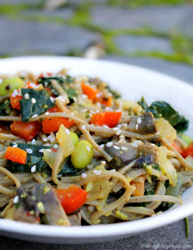sautéed vegetables with noodles and sesame