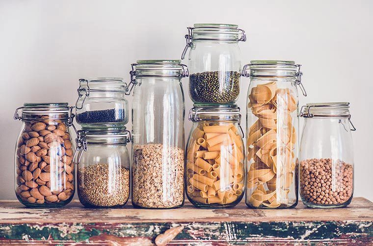 jars of nuts, grains and beans