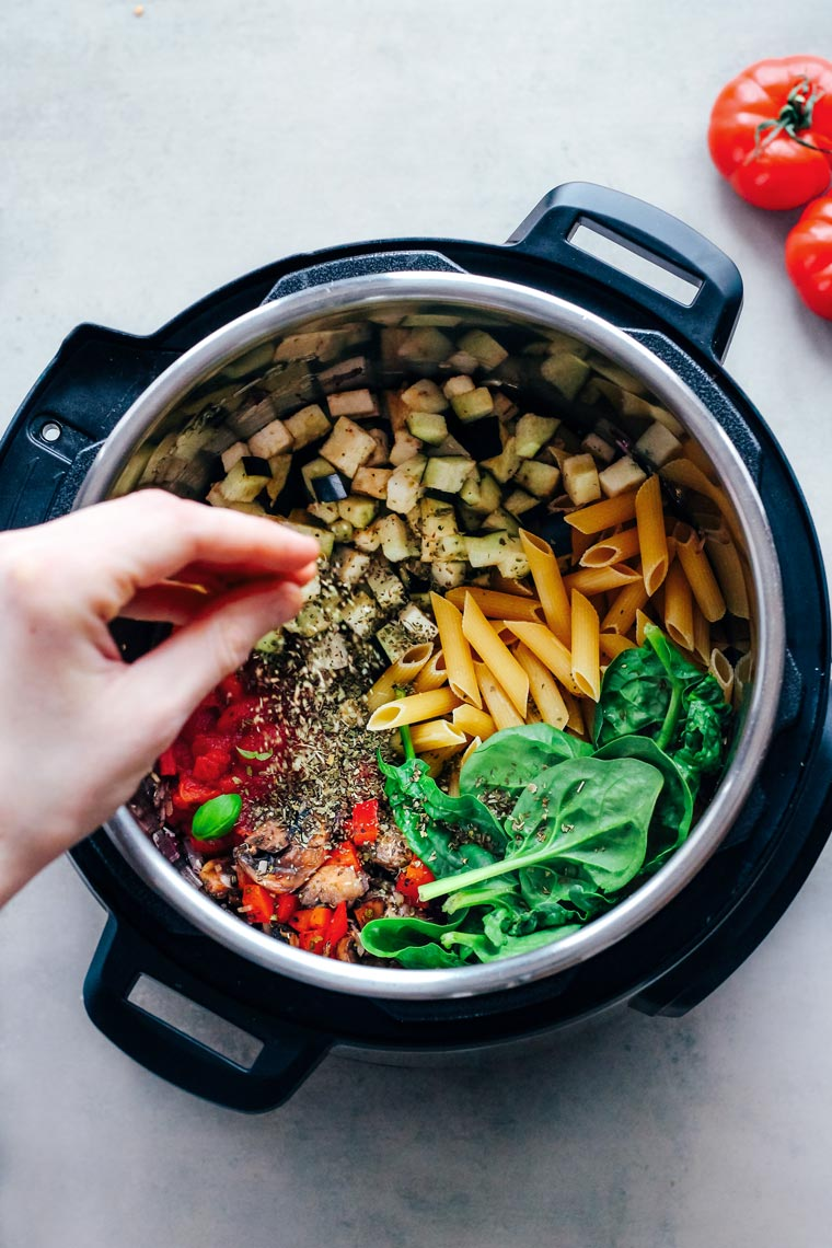 Throwing spices for one pot pasta into the instant pot