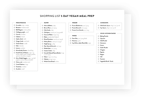 5 Day Vegan Meal Prep Downloadable Shopping List