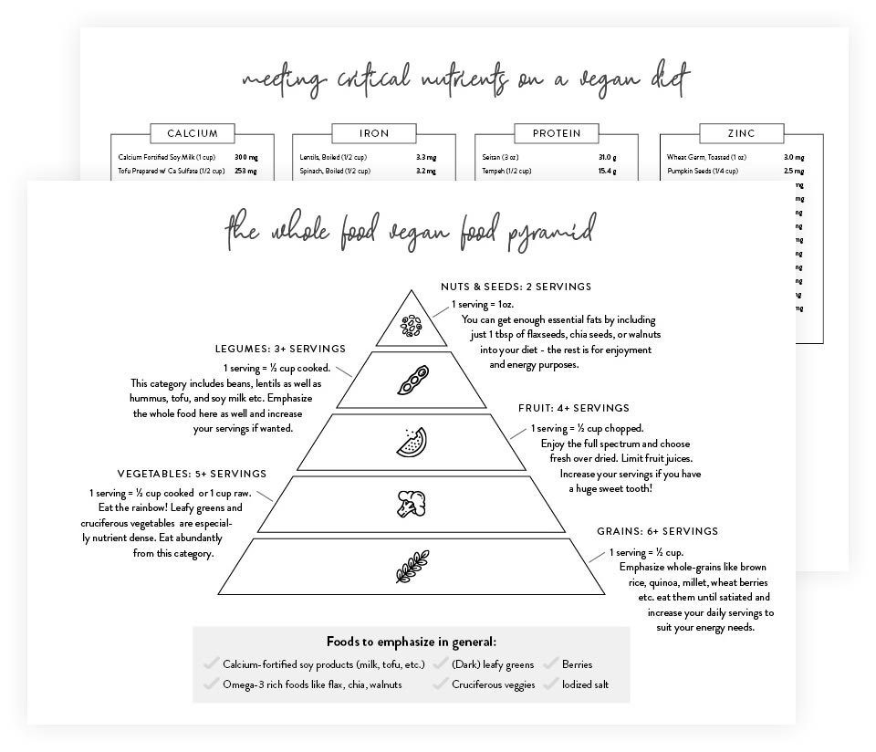 two sample pages of nutriciously's food pyramid cheet sheets