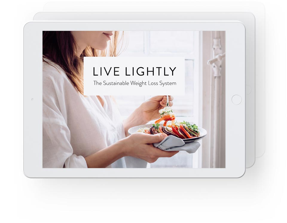 White iPads in horizontal position showcasing live lightly with main guide in front and more ebooks indicated behind