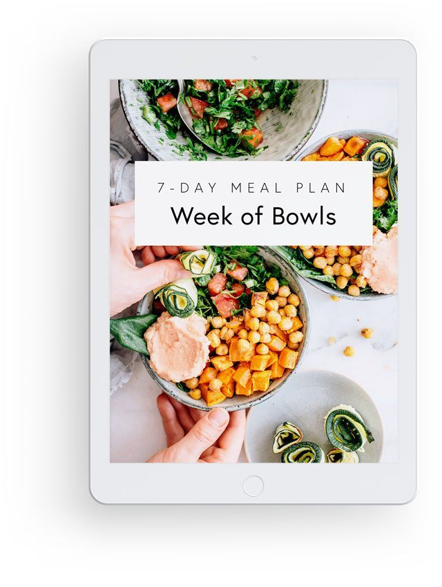 3D mockup with white ipad showing Nutriciously's Week of Bowls 7-Day Meal Plan