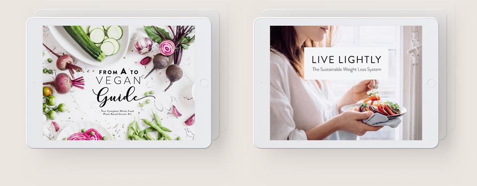 ipads and of the vegan starter kit and weight loss system representing nutriciously's ultimate ebook bundle