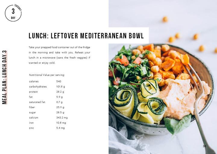 snippet of day 3 lunch of the week of bowls vegan meal plan eBook