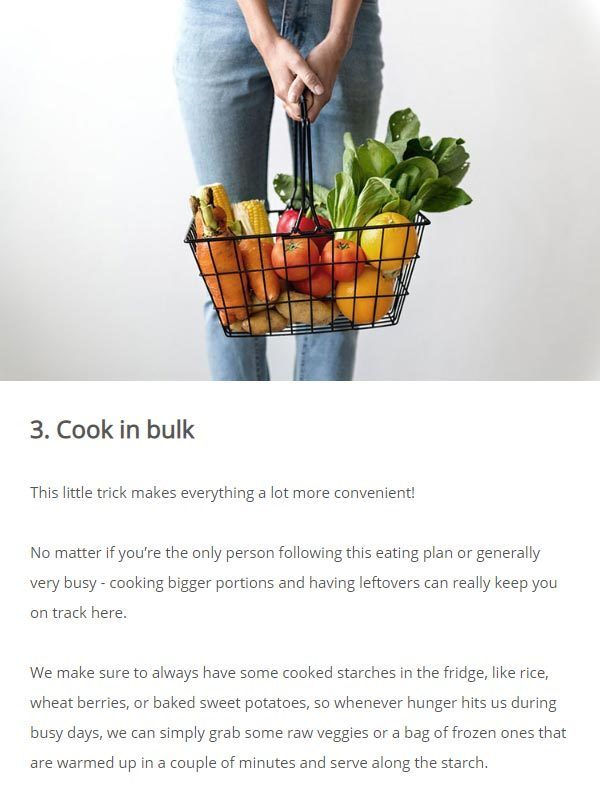 snippet from the vegan weight loss email challenge
