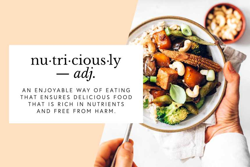 Woman with veggie bowl and text box with the definition of nutriciously