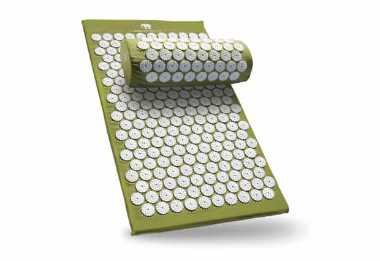 green Acupressure Massage Mat And Pillow on a white surface