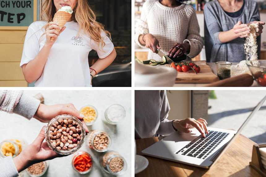 collage of a woman eating ice cream, two women cooking, one person at a laptop and hands holding legumes in a glass