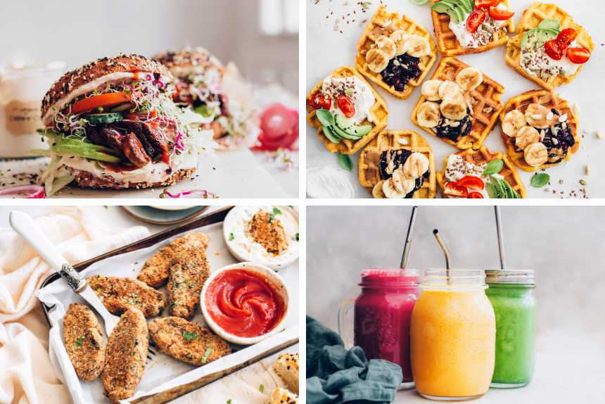 collage of four different vegan recipes from colorful smoothies to waffles, bagels and sides