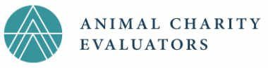 logo of the animal charity evaluators showing a teal circle with white lines