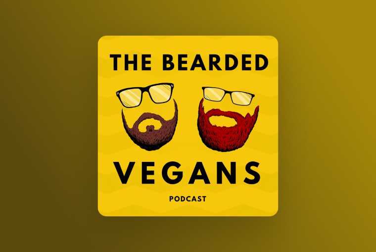 bearded vegans podcast image on yellow background