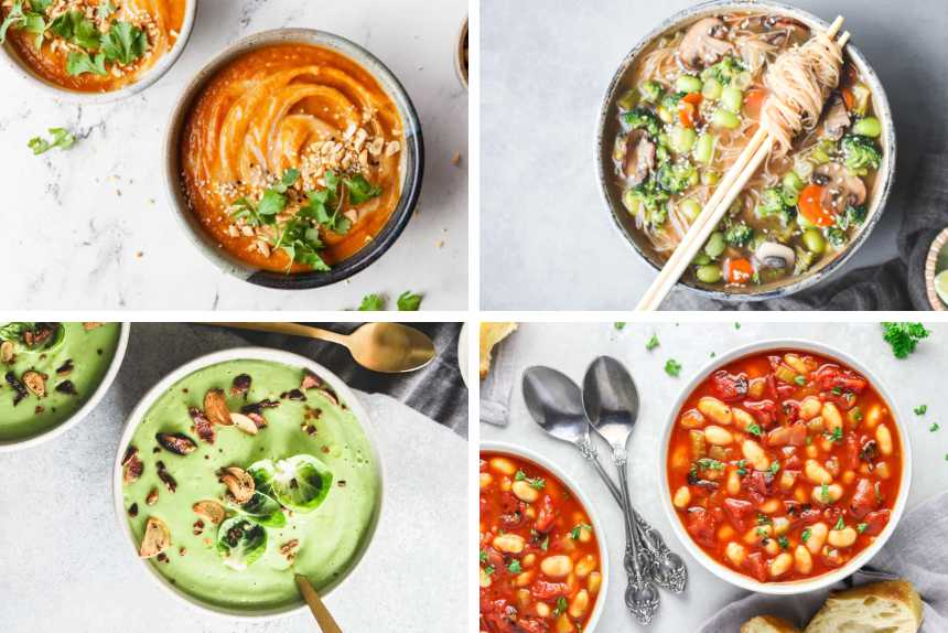 collage of four vegan soups from smooth carrot ginger to noodle or white bean tomato soup