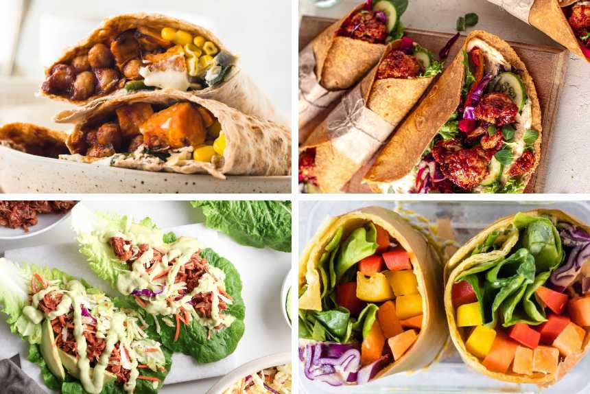 collage of four different recipes for vegan wraps from chickpea stuffed to rainbow and lettuce with jackfruit