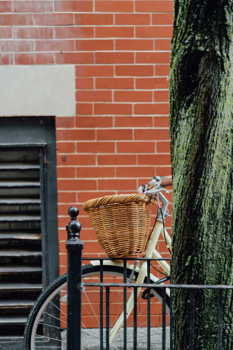 Bike standing next to a tree with a red brick wall in the background