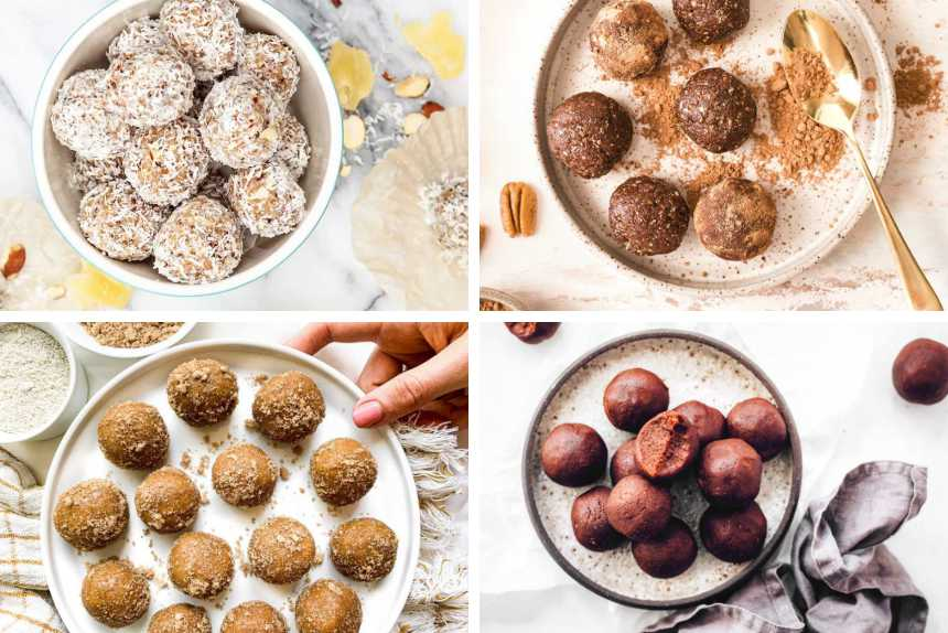 collage of 4 different vegan bliss balls recipes with coconut, chocolate and peanut butter