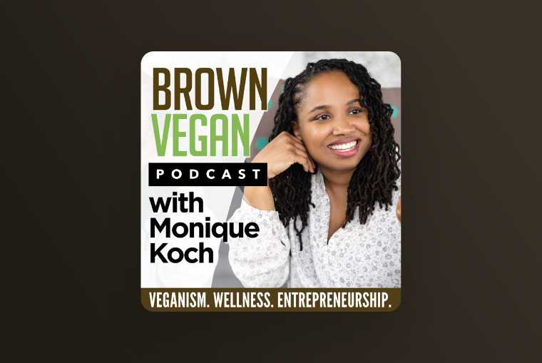 brown vegan podcast image on dark background