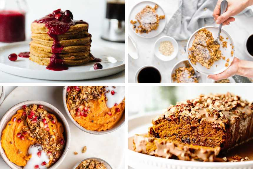 collage of four different vegan Christmas breakfast recipes from oatmeal to pancakes, smoothie bowl and sweet bread