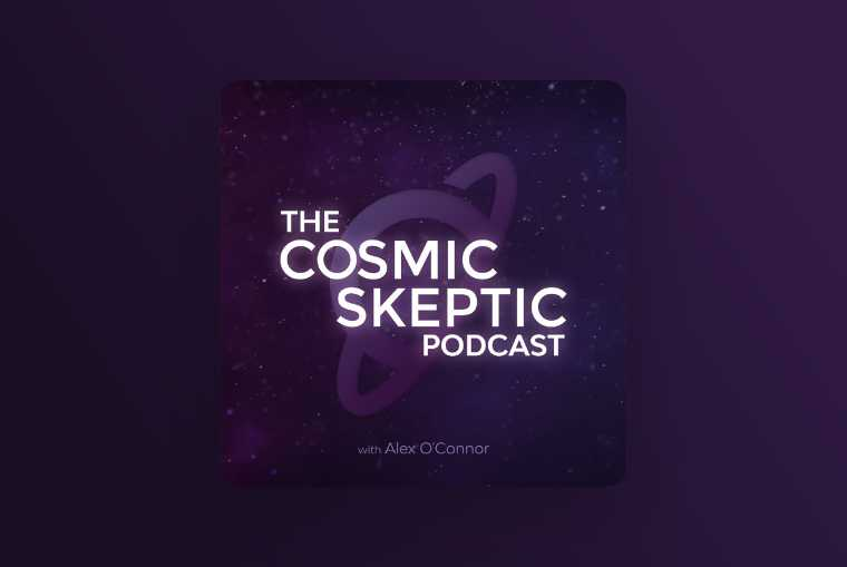 the cosmic skeptic podcast image on purple background