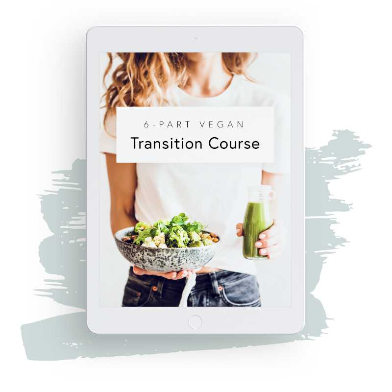 White iPad showcasing Nutriciously's 6-part vegan transition course with green brush in the background