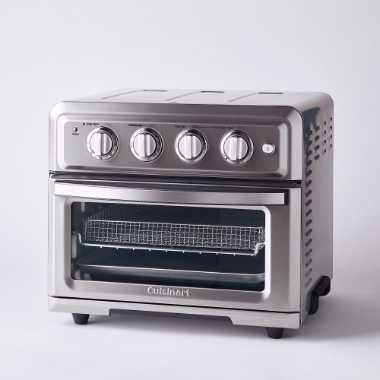 silver toaster oven plus air fryer 2 in 1 device by Cuisinart