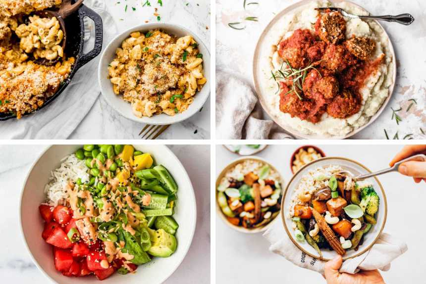 collage of 4 easy vegan recipes for beginners from mac and cheese to lentil balls, colorful vegan bowl and veggie stir fry