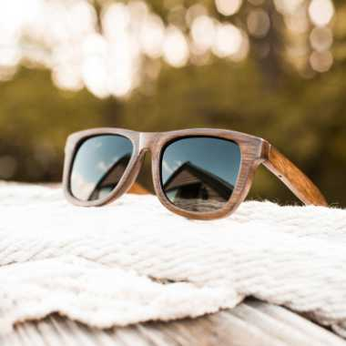 piece of wood with a pair of homemade bamboo sunglasses