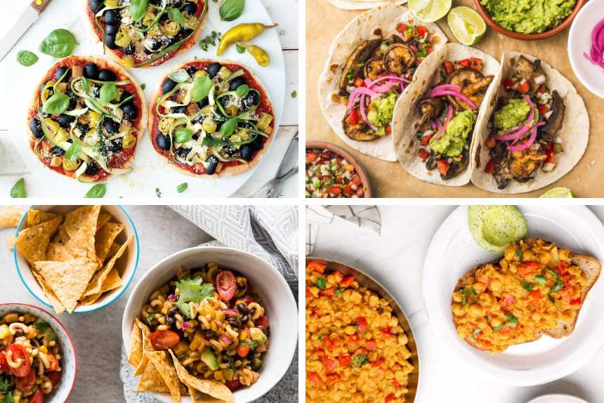 collage of four lazy vegan recipes from pita pizza and mushroom tacos to chickpea scramble and pasta salad