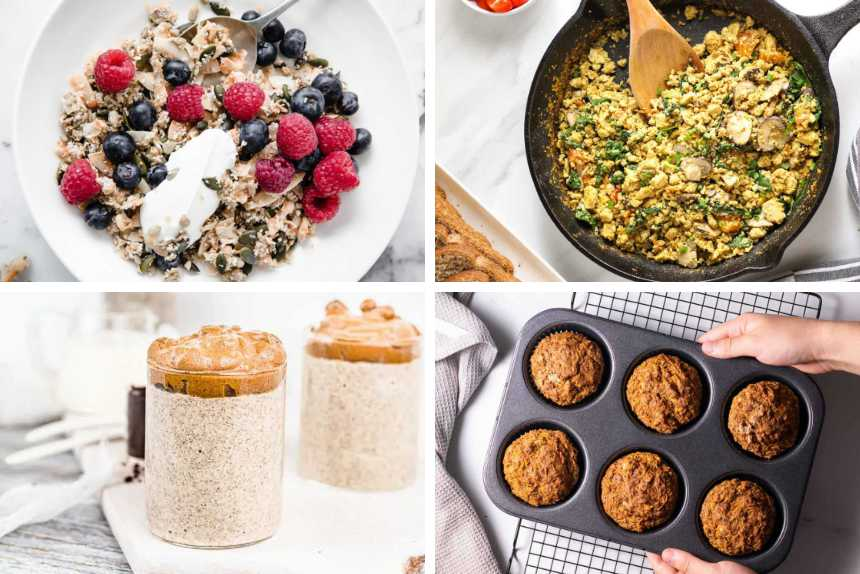 collage of 4 low-carb vegan breakfast recipes like chia pudding, muffins, tofu scramble and oat-free granola