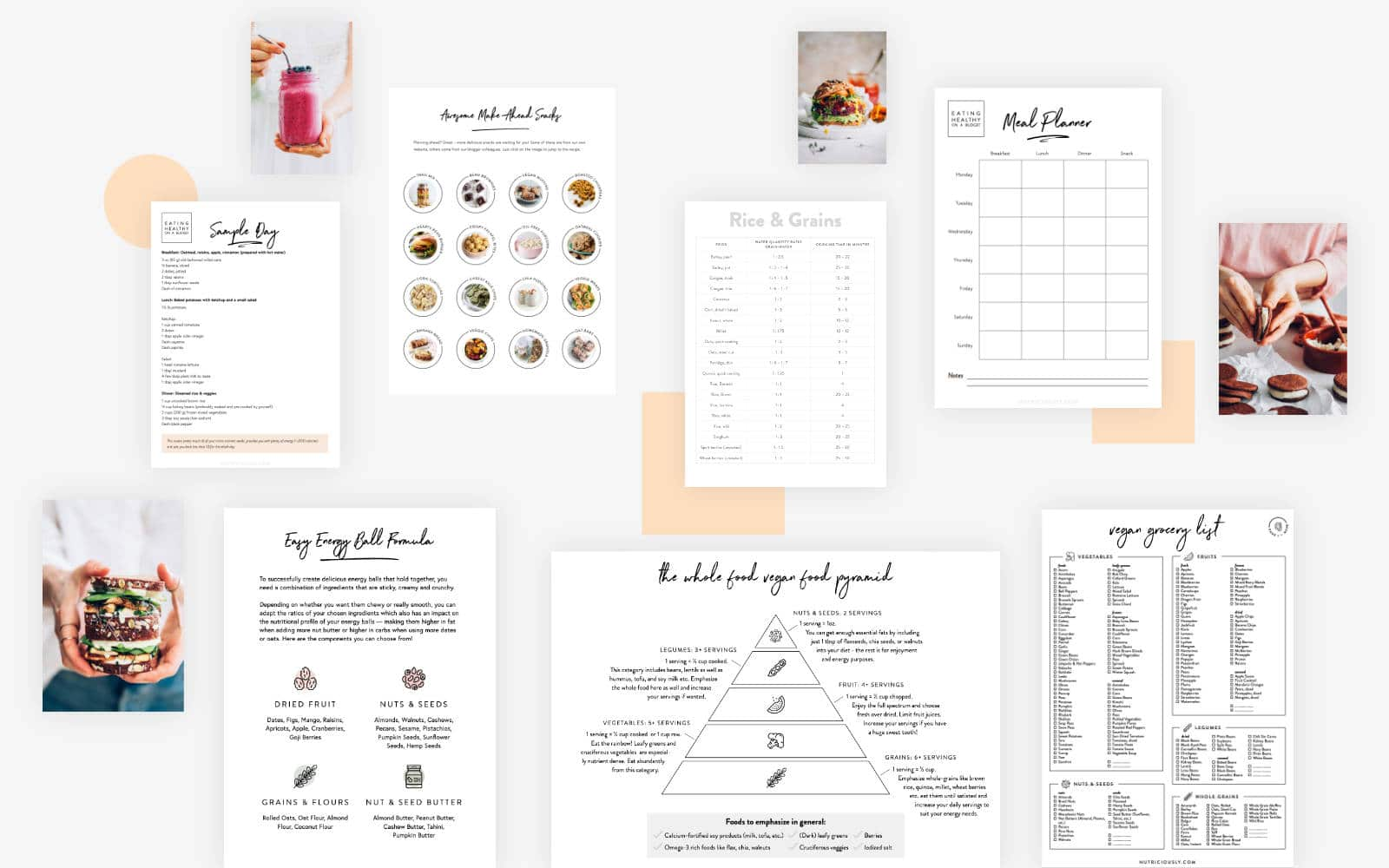 grey background with four colorful vegan recipe photos and seven printable sheets by nutriciously
