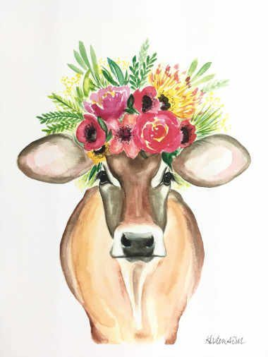 watercolor picture of a brown cow wearing some flowers on her head
