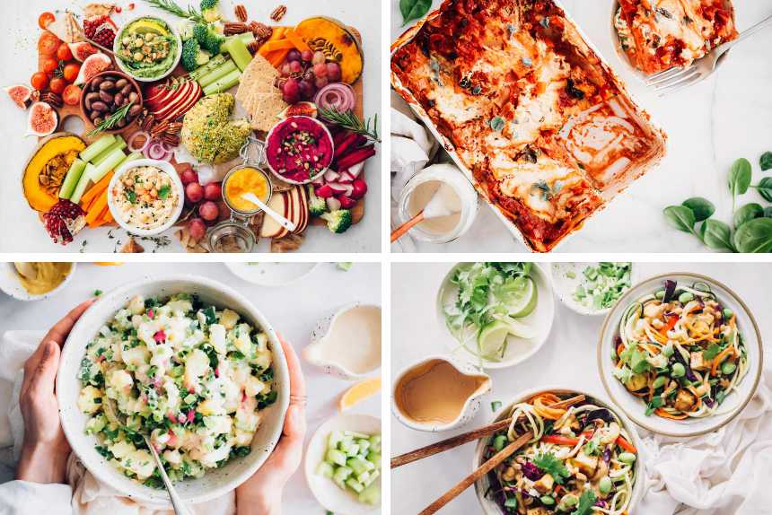 collage of vegan potato salad, raw pad thai, dairy free lasagna and an appetizer platter