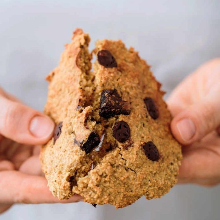 woman wearing a grey top breaking a vegan oatmeal cookie with chocolate chips in half