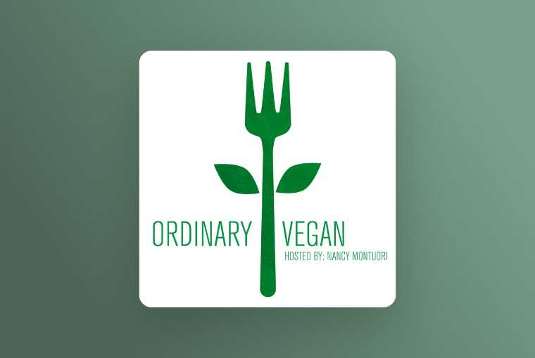 ordinary vegan image on green background