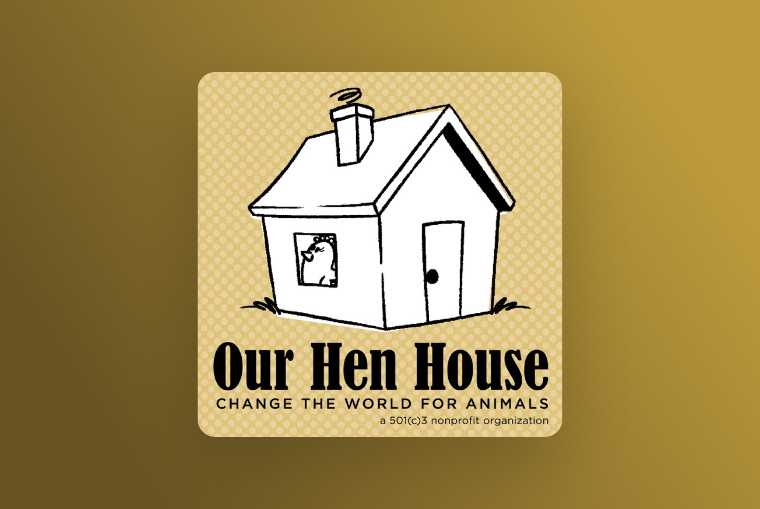 our hen house image on yellow background