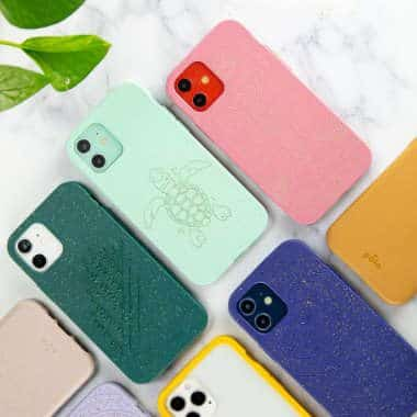 different-colored compostable smartphone cases by pela lying on the a white surface