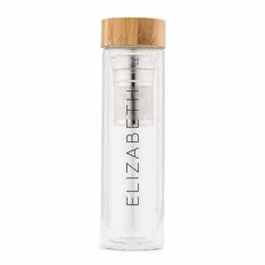glass tea infuser with the word Elizabeth on it and bamboo lid