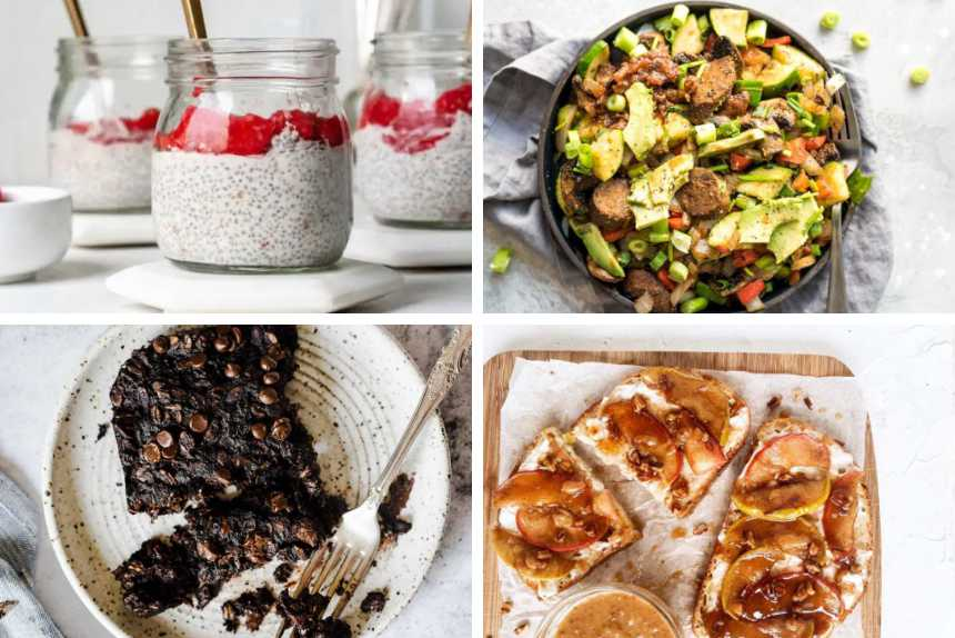 collage of 4 easy plant-based breakfast ideas from baked oatmeal to apple toasts, chia pudding and savory breakfast skillet