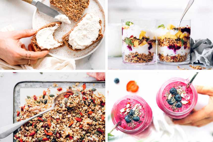 collage of four plant based breakfast recipes like granola, smoothie, bread and breakfast parfait