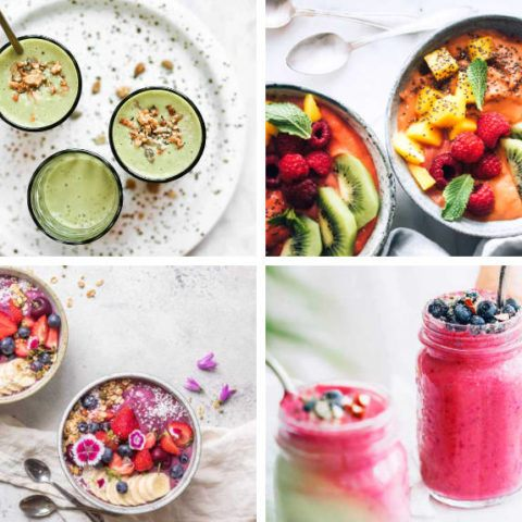 collage of four different plant-based superfood smoothies in pink, green and orange with lots of toppings