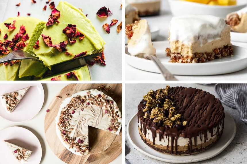 collage of four raw cakes from lime to cheesecake, snickers and cinnamon roll