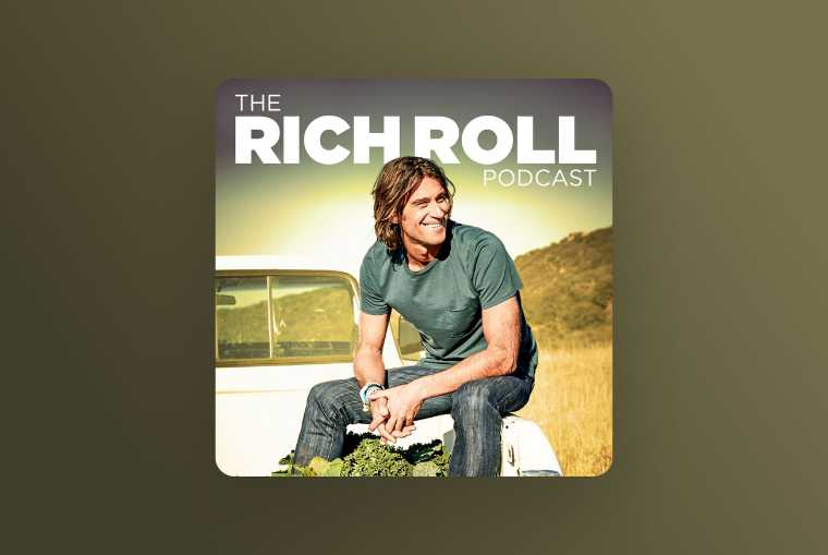 the rich roll podcast image on yellow background