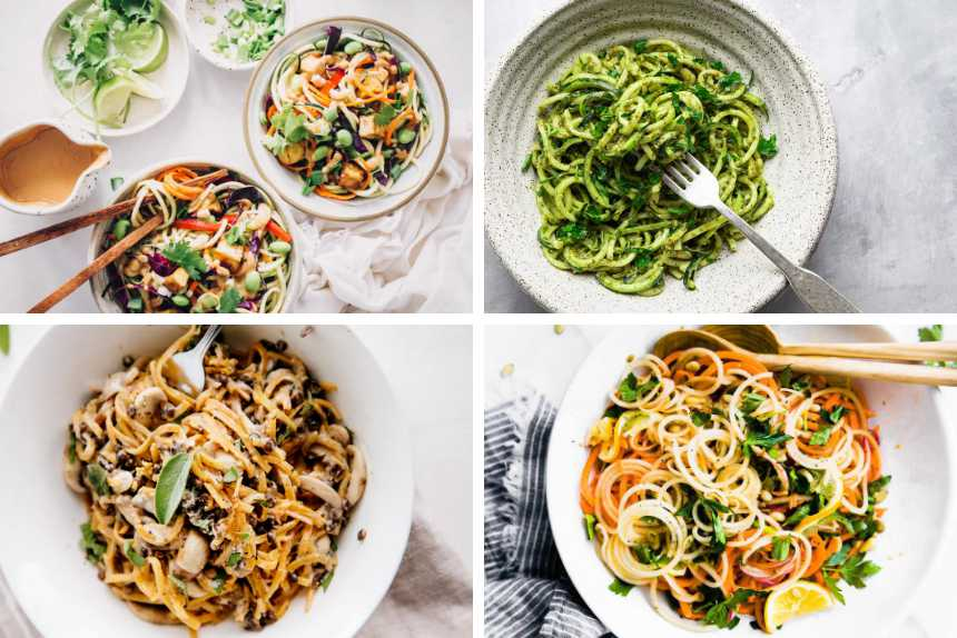 four vegan spiralizer recipes with veggies from zucchini with pesto, raw pad thai, butternut squash with mushrooms and carrot salad