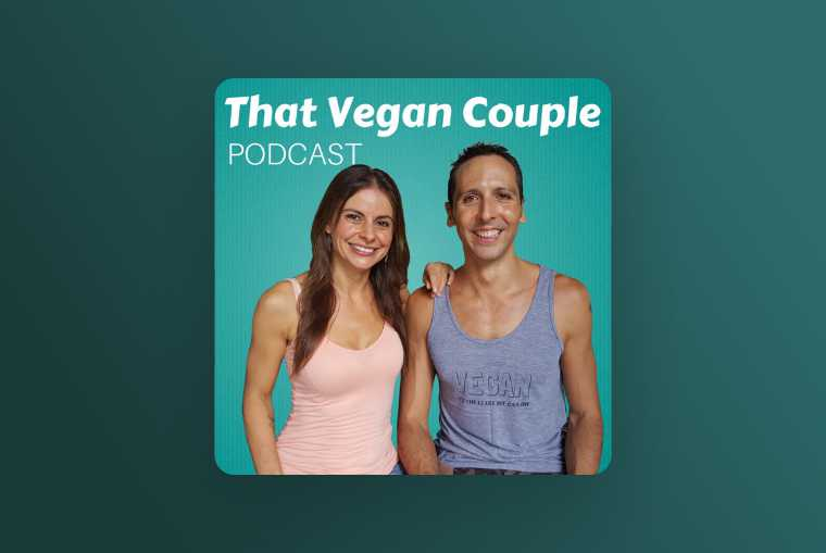 that vegan couple podcast image on turquoise background