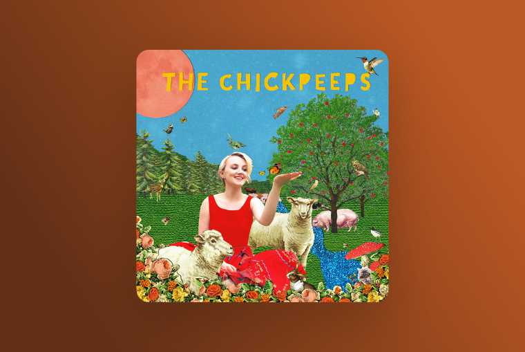 the chickpeeps image on red background