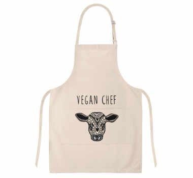 beige apron with the words vegan chef and the head of a cow