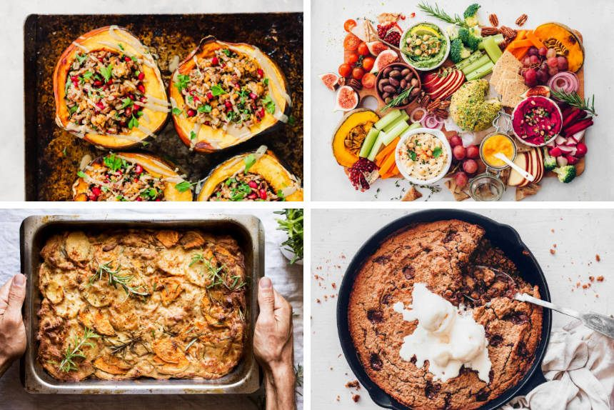 collage of four images showing different vegan Christmas dinner recipes to create a full menu