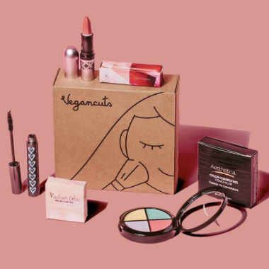 brown carton box saying Vegancuts with a lipstip, mascara, eyeshadow and other vegan makeup around it